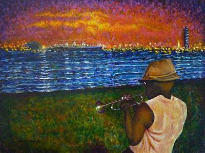 Painting - Music Man In The Lbc by Amelie Simmons