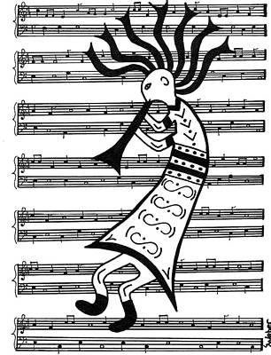 Painting - Music Man Kokopelli by Susie WEBER