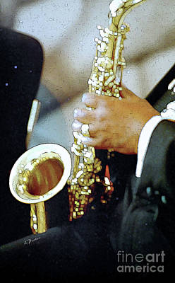 Music Man Saxophone 1 Art Print by Linda  Parker