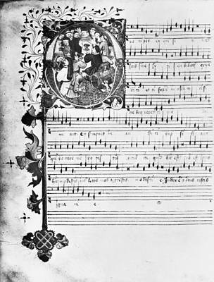 Photograph - Music Manuscript, 1450 by Granger