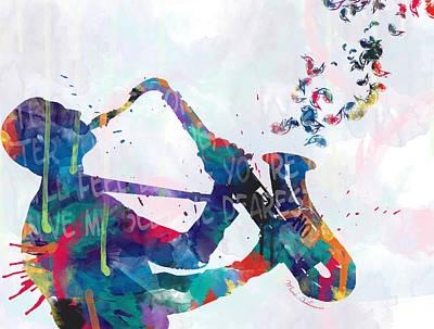 Saxophone Wall Art - Painting - Music  by Mark Ashkenazi