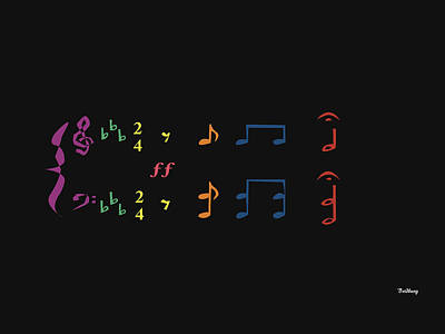Digital Art - Music Notes 35 by David Bridburg