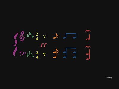 Digital Art - Music Notes 35 by David Bridburg