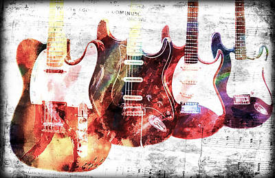 Photograph - Music Notes Electric Guitars by Athena Mckinzie