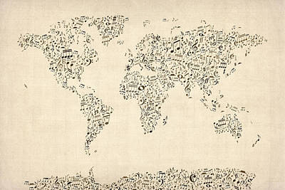 Music Notes Map Of The World Map Art Print by Michael Tompsett