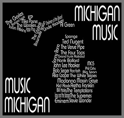 Music Map Digital Art - Music Of Michigan by Trudy Clementine
