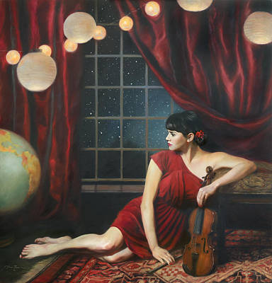 Curtains Painting - Music Of The Spheres by Anna Rose Bain
