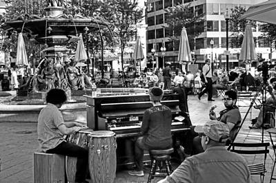 Photograph - Music On The Boston Common Boston Ma Black And White by Toby McGuire