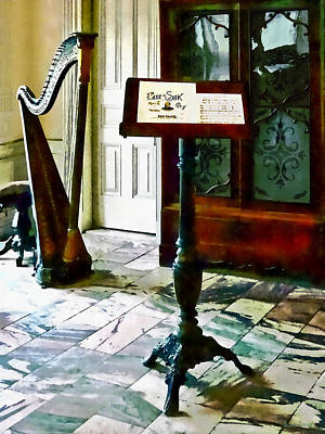 Photograph - Music Room With Harp by Susan Savad