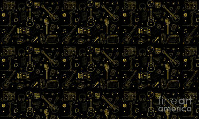 Cassettes Digital Art - Music Silhouette  by Naviblue