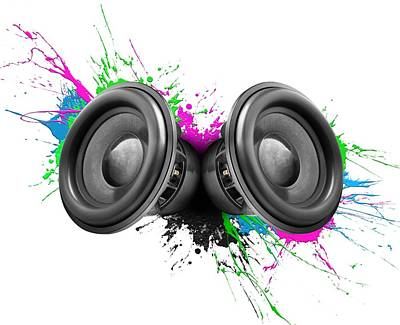 Splatter Photograph - Music Speakers Colorful Design by Johan Swanepoel