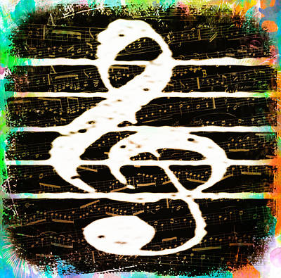 Staves Digital Art - Music Staff by Bill Cannon