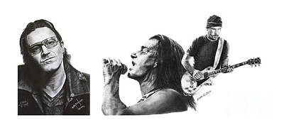 Drawing - Music U2 by Marianne NANA Betts