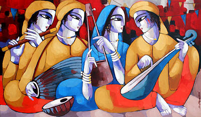 Indian Contemporary Artist Painting - Music Vi by Sekhar Roy