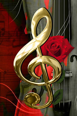 Mixed Media - Musical Clef And Violin Art by Marvin Blaine