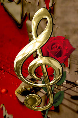 Mixed Media - Musical Clef Musical Notes Rose Art by Marvin Blaine