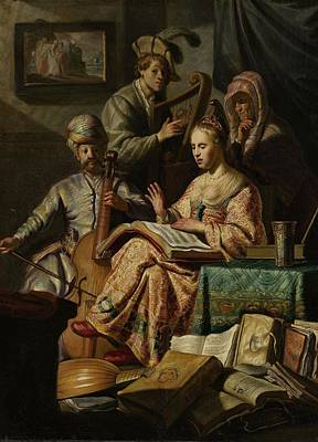 Musical Painting - Musical Company, Rembrandt Harmensz. Van Rijn, 1626 by Celestial Images