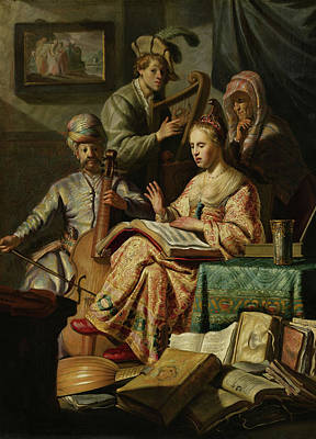 Old Sheet Music Painting - Musical Company by Rembrandt