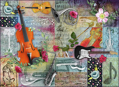 Musical Garden Collage Art Print