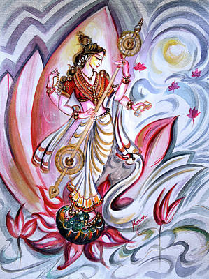 Swan Goddess Painting - Musical Goddess Saraswati - Healing Art by Harsh Malik