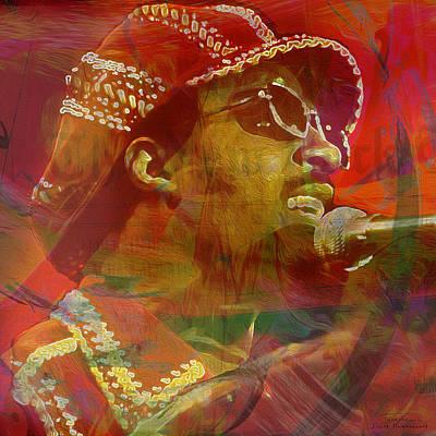 Motown Digital Art - Music Icons - Stevie Wonder I by Joost Hogervorst