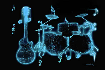 Mixed Media - Musical Instrument Neon Colorful Art 2 by Ken Figurski