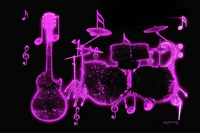 Mixed Media - Musical Instrument Neon Colorful Art 3 by Ken Figurski