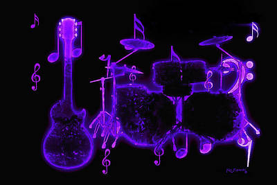 Mixed Media - Musical Instrument Neon Colorful Art 5 by Ken Figurski