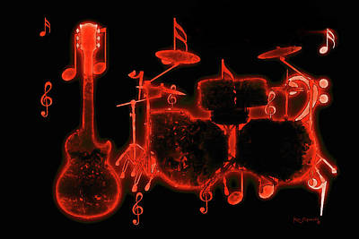 Mixed Media - Musical Instrument Neon Colorful Art  by Ken Figurski