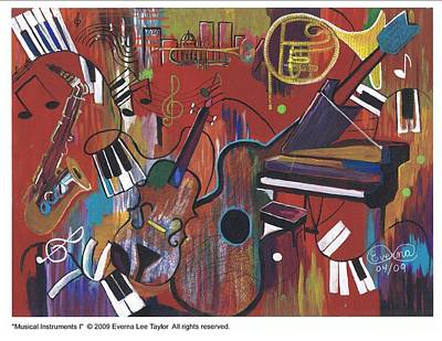 Musical Instruments 1 Art Print by Everna Taylor