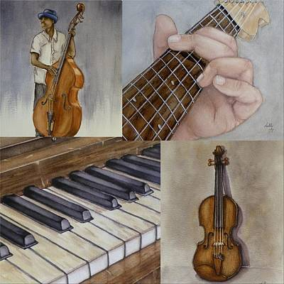 Painting - Musical Instruments Collage by Kelly Mills