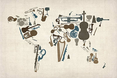 Poster Digital Art - Musical Instruments Map Of The World Map by Michael Tompsett
