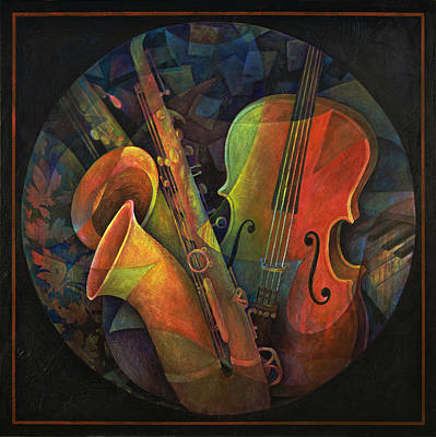 Cello Painting - Musical Mandala - Features Cello And Sax's by Susanne Clark