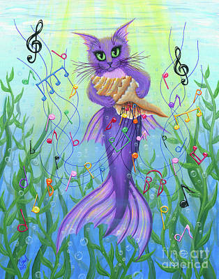 Painting - Musical Mercat - Purple Mermaid Cat by Carrie Hawks