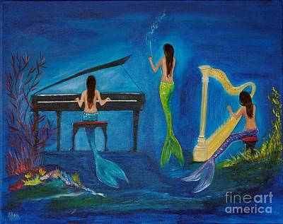 Painting - Musical Mermaids by Leslie Allen