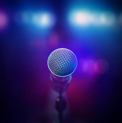 Musical Microphone On Stage Print by Johan Swanepoel