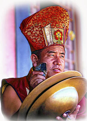 Musical Monk - Vignette Art Print