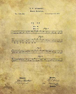 Musicians Drawings - Musical Notation Patent by Dan Sproul