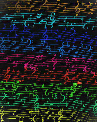 Painting - Musical Notations On Black by Dan Sproul