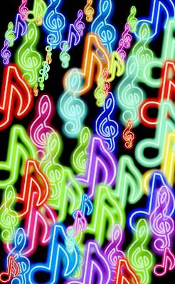 Digital Art - Musical Notes In Abstract Colors by Sheila Mcdonald