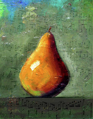 Pear Mixed Media - Musical Pear by Nancy Merkle