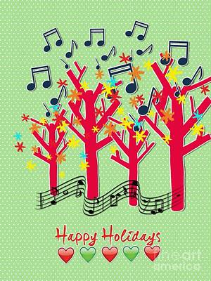 Digital Art - Musical Trees Holiday Greeting by Joan-Violet Stretch