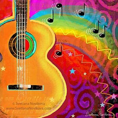 Guitar Photograph - Musical Whimsy Painting By Svetlana by Svetlana Novikova