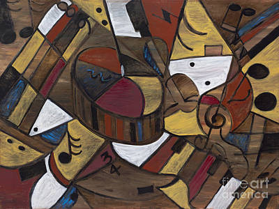 Musicality In Brown Art Print by Nadine Rippelmeyer