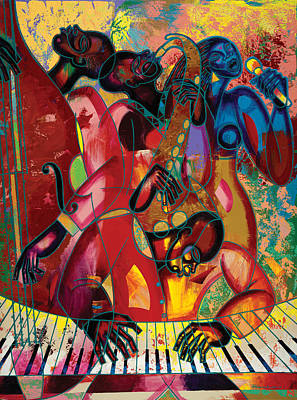 African American Art Painting - Musicfest by Larry Poncho Brown