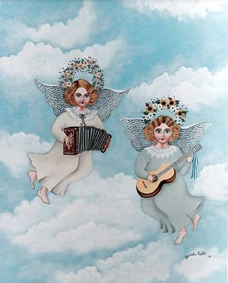 Guitar Angels Painting - Musician Angels by Graciela Bello
