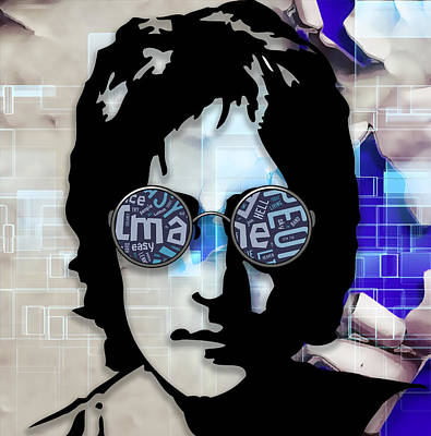 John Mixed Media - Musician John Lennon by Marvin Blaine