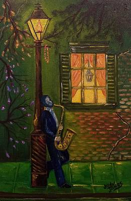 Gas Lamp Painting - Musician On The Street by Judy Jones