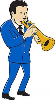 Trumpet Digital Art - Musician Playing Trumpet Cartoon by Aloysius Patrimonio