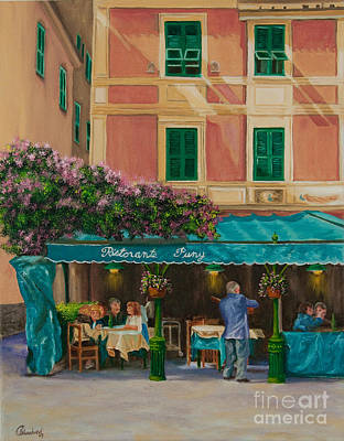 Portofino Italy Town Art Painting - Musicians' Stroll In Portofino by Charlotte Blanchard